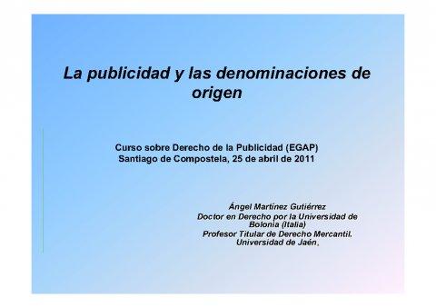 A publicidade e as denominacións de orixe  - Curso de especialización en Dereito da Publicidade